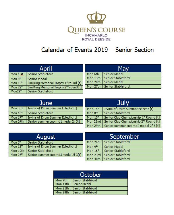 2019 Senior Fixtures